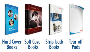 Perfect Binding samples: hard cover, soft cover, strip-back books and tear-off pads