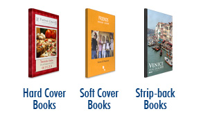 BooXTer samples: hard cover, soft cover and strip-back books